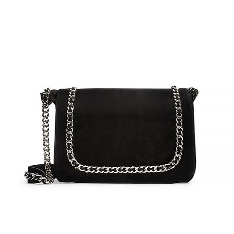 Leather Messenger Bag with Chain