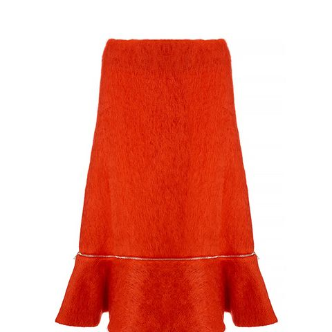 Red Mohair Zip Flounce Skirt