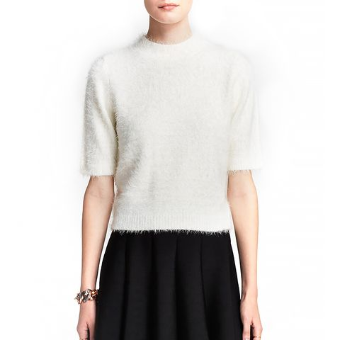 Pullover Eyelash Mock Turtleneck