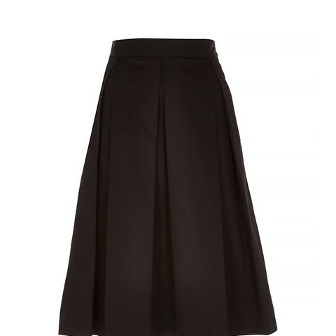 Black Sateen Box Pleat Midi Skirt