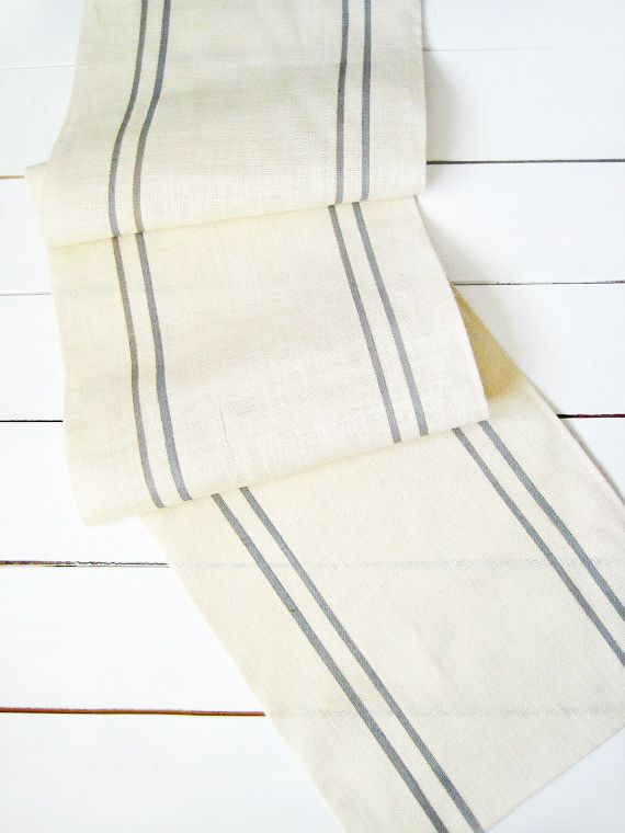 Etsy Burlap Table Runner with Grey Stripe