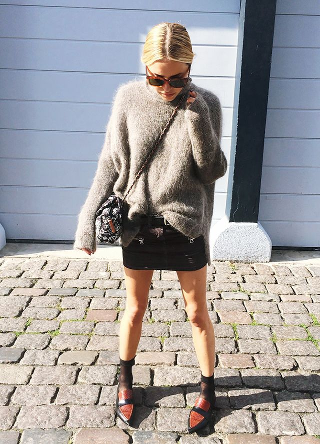 Fuzzy Sweater + Miniskirt + Pointed-Toe Flats