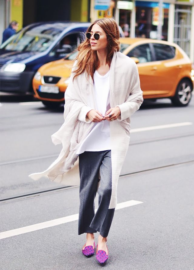 Oversized Cardigan + Cropped Trousers + Bright Flats