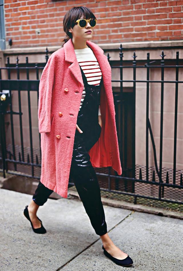 Overalls + Striped Shirt + Ballet Flats