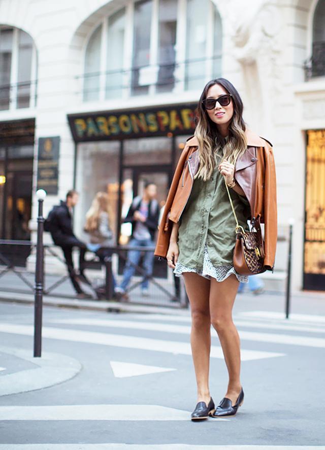 Moto Jacket + Oversized Blouse + Skirt + Leather Loafers