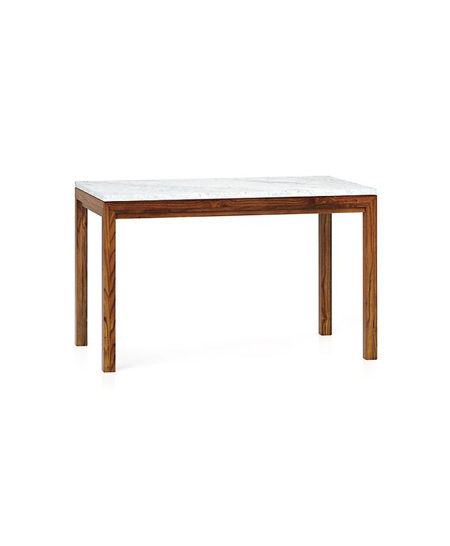 Crate & Barrel Marble Top/Elm Base Dining Tables