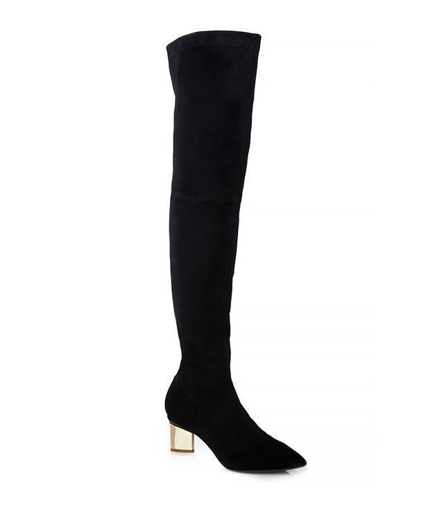 Nicholas Kirkwood Suede Block Heel Over the Knee Boots
