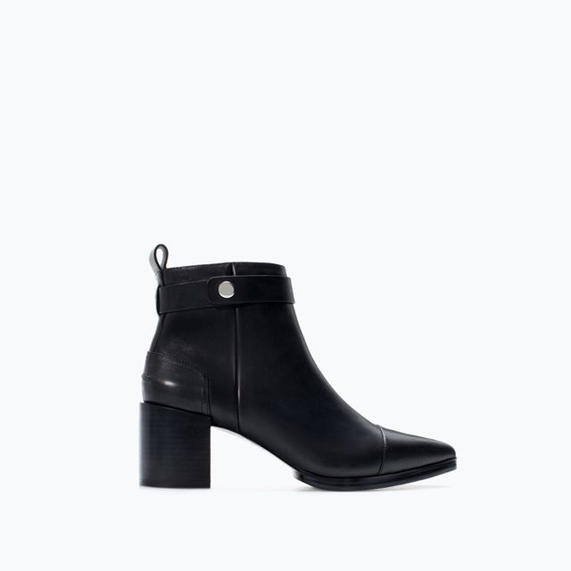 Zara High Heeled Pointed Leather Booties