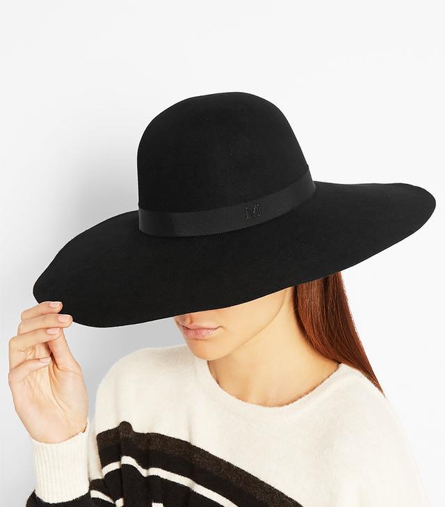 Maison Michel Blanche Wide-Brim Rabbit-Felt Hat