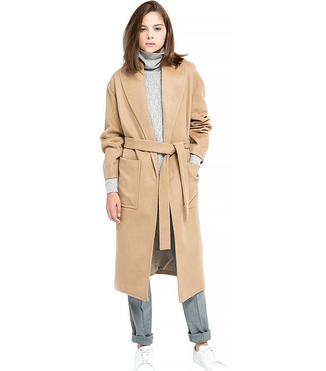 Mango Belted Wool Blend Coat