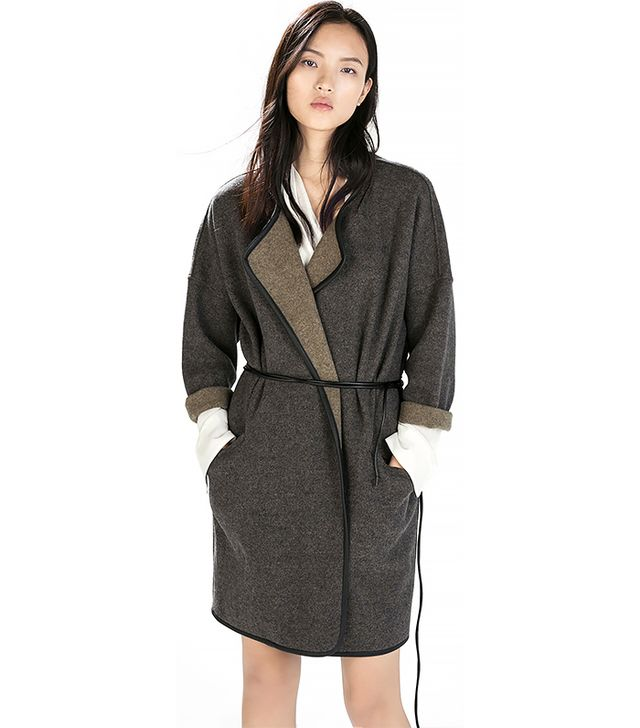 Zara Faux Leather Belted Coat with Piping