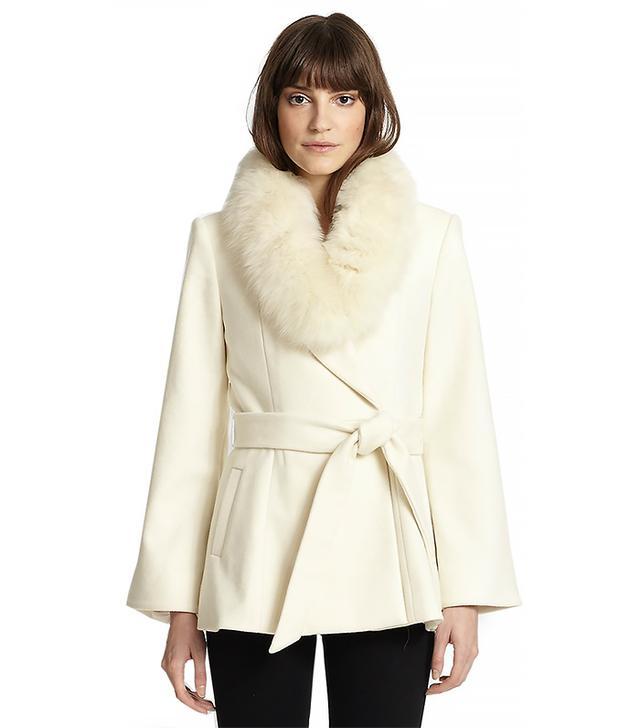 Alice + Olivia Meridian Fur Trim Wrap Coat