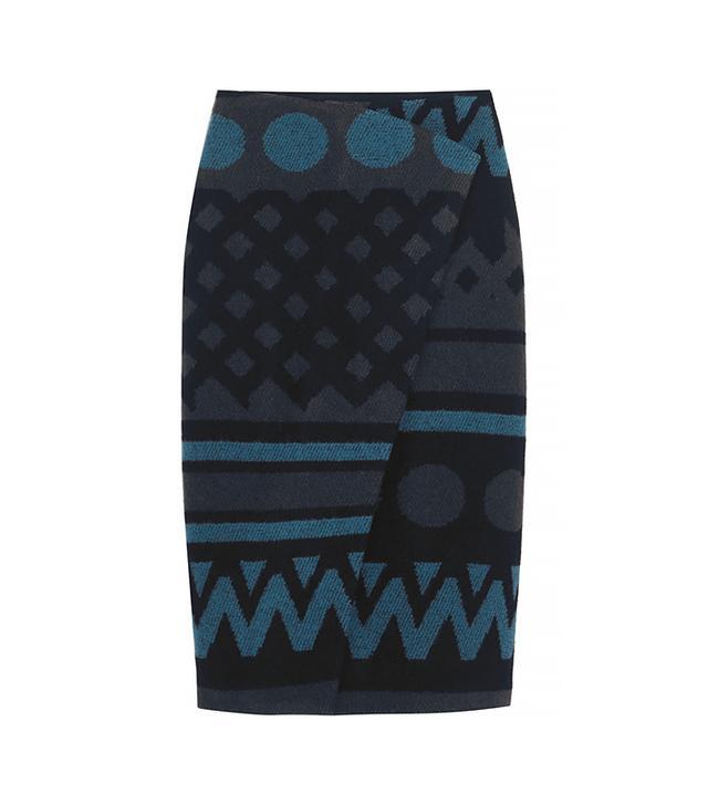 Burberry Jacquard Blanket Pleat Front Skirt