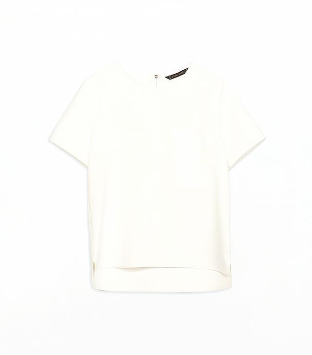 Zara Top With Pocket and Asymmetrical Hem