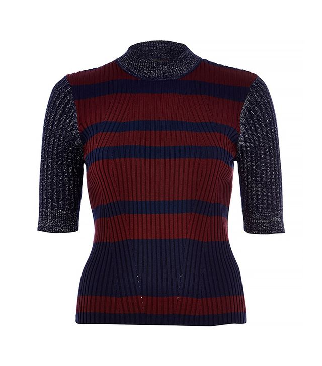 River Island Navy Stripe Contrast Panel Knitted Sweater