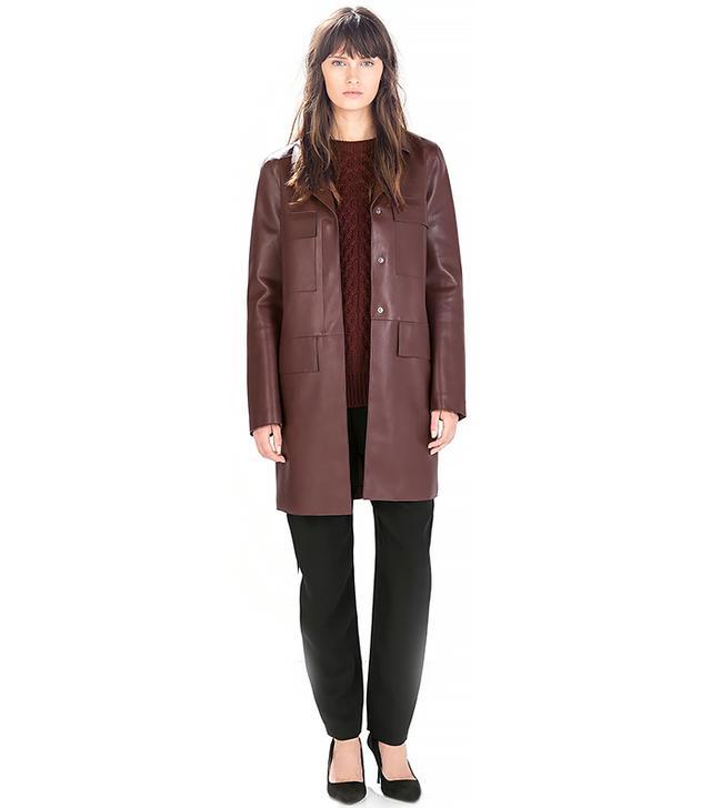 Zara Straight-Cut Faux Leather Coat