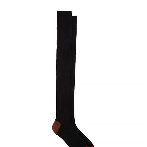 Contrast Heel & Toe Over-The-Knee Socks