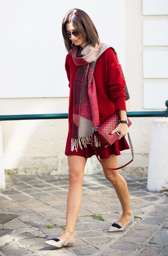 #2: Scarf + Sweater Dress + Pointy-Toe Flats