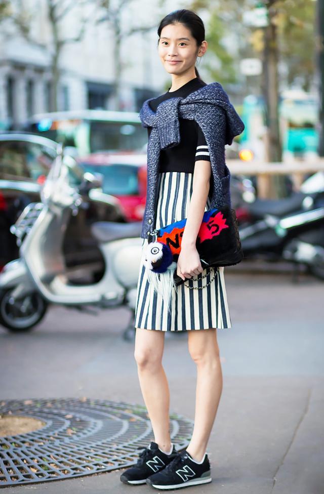 #4: Sweater + Striped Dress + Sneakers