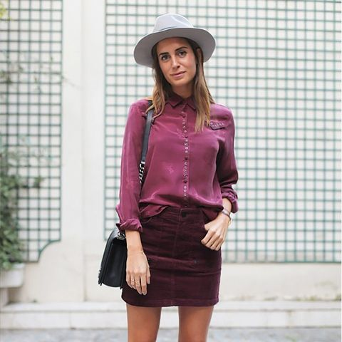 corduroy skirt and burgundy blouse