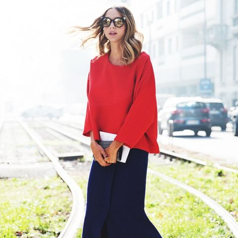 navy midi skirt and red sweater