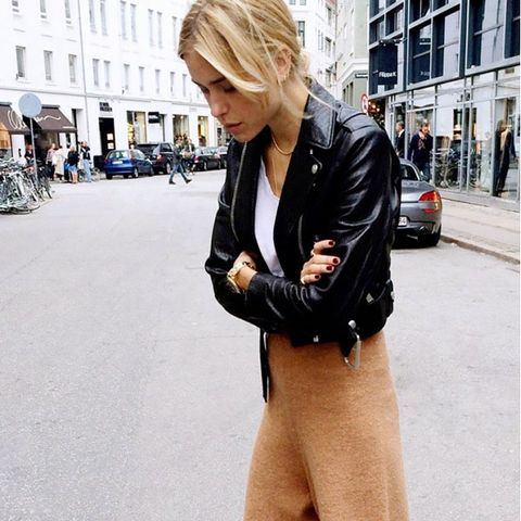 knit pants and moto jacket