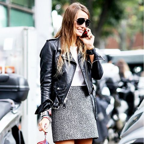 miniskirt and moto jacket