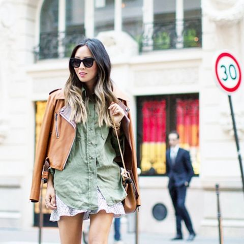 loafers and camo green blouse