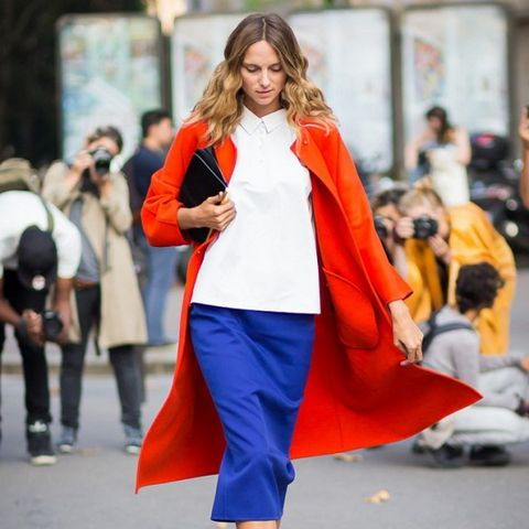 red coat and blue pencil skirt