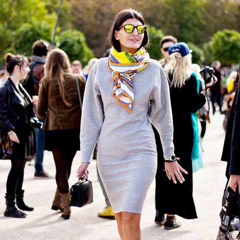 grey knit dress and bright scarf