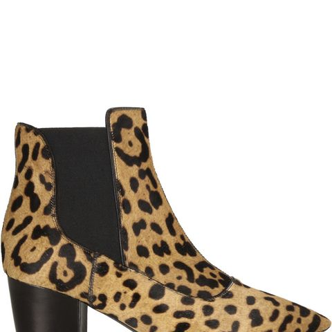 Shadow Leopard-Print Calf Hair Ankle Boots