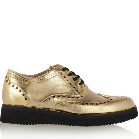 Vanas Distressed Metallic Leather Brogues