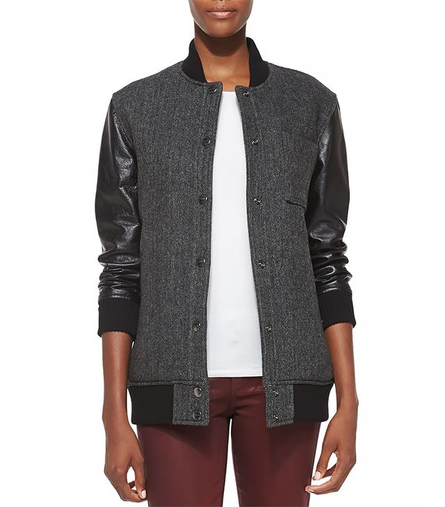 Current/Elliot Stanwood Leather Sleeve Bomber Jacket