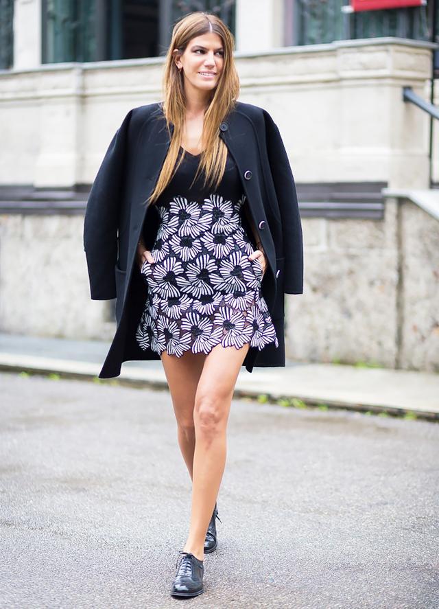 Black Coat + Minidress + Lace-Up Loafers