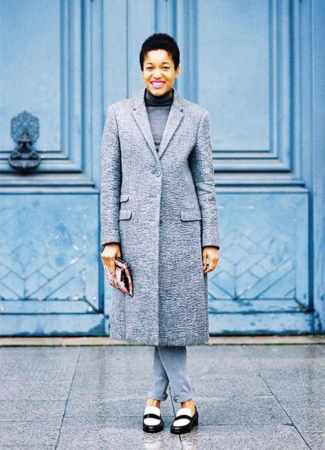 Menswear-Inspired Coat + Grey Pants + Patent Leather Loafers