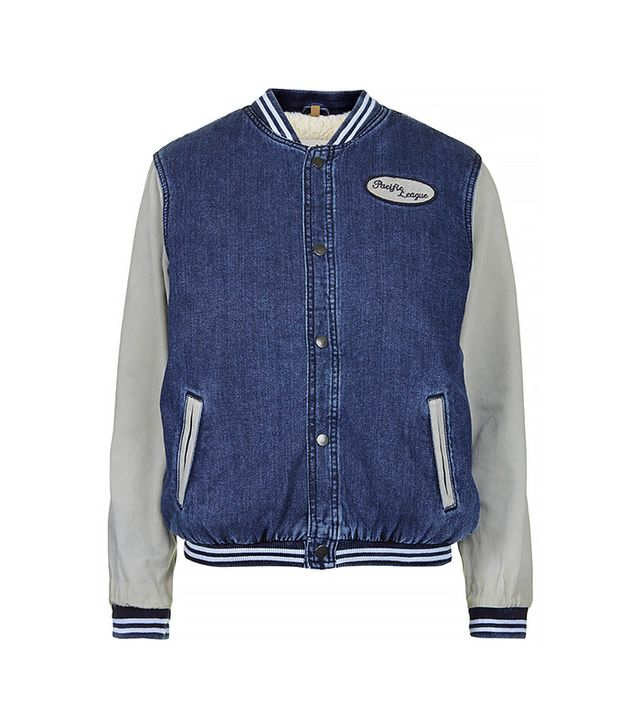 Topshop Moto Denim Varsity Jacket