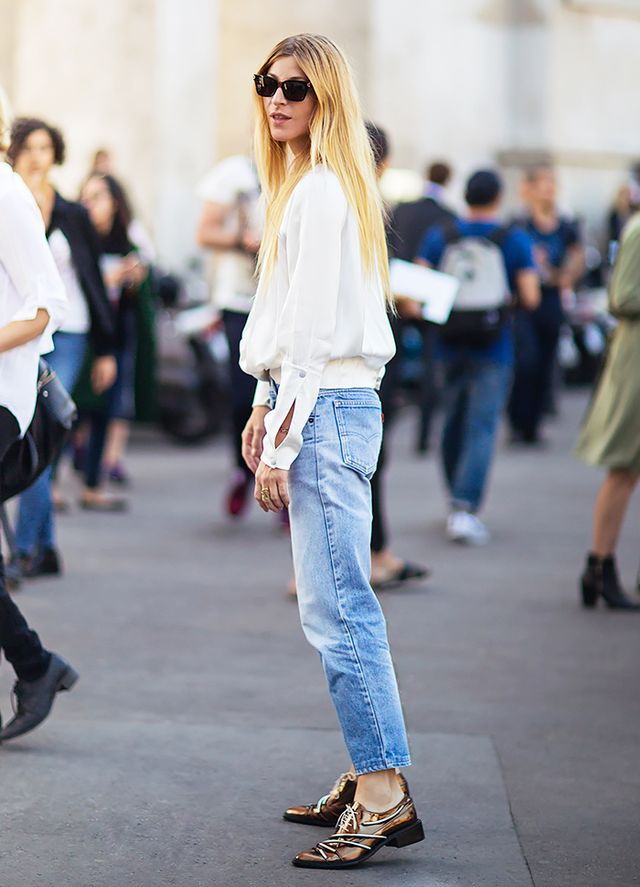 White Blouse + Jeans + Metallic Flats