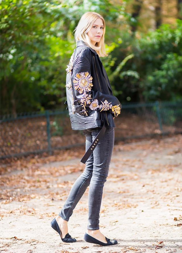 Leather Jacket + Black Skinny Jeans + Black Flats