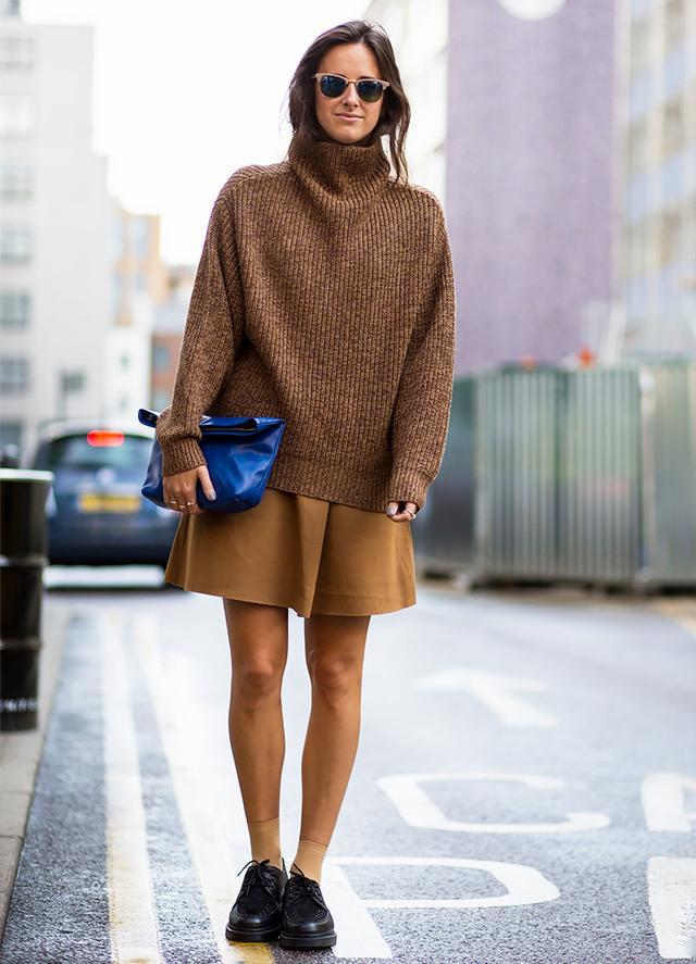 Oversized Turtleneck + Circle Skirt + Lace-Up Flats