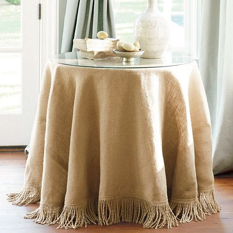 Ballard Designs Fringed Burlap Trio with Table, Glass & Tablecloth