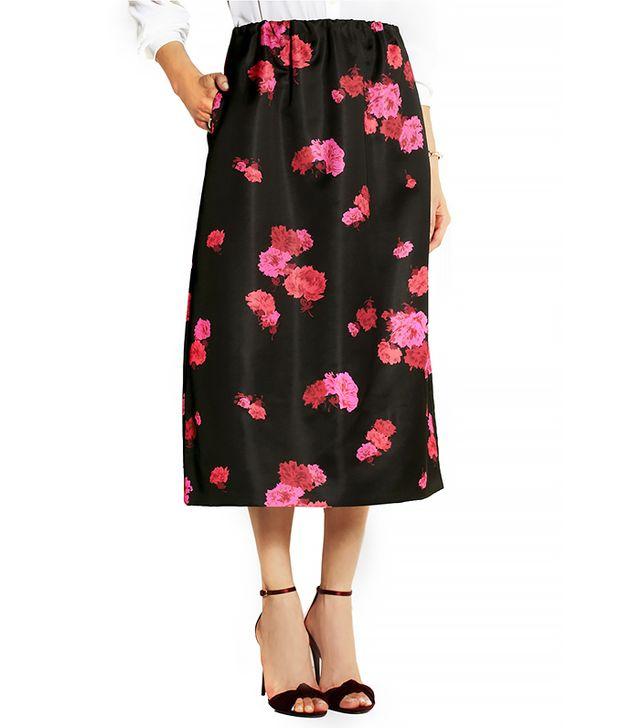 No. 21 Giannina Floral-Print Satin Midi Skirt
