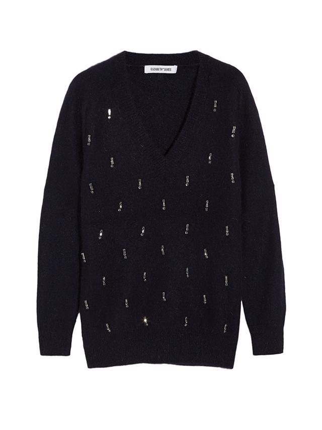 Elizabeth and James Crystal-Embellished Angora-Blend Sweater