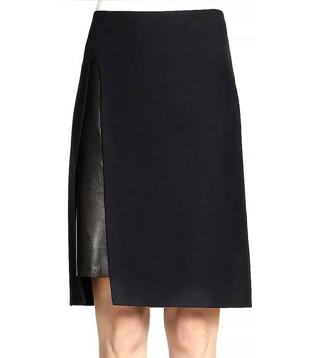 3.1 Phillip Lim Wool Gab & Leather Pencil Skirt