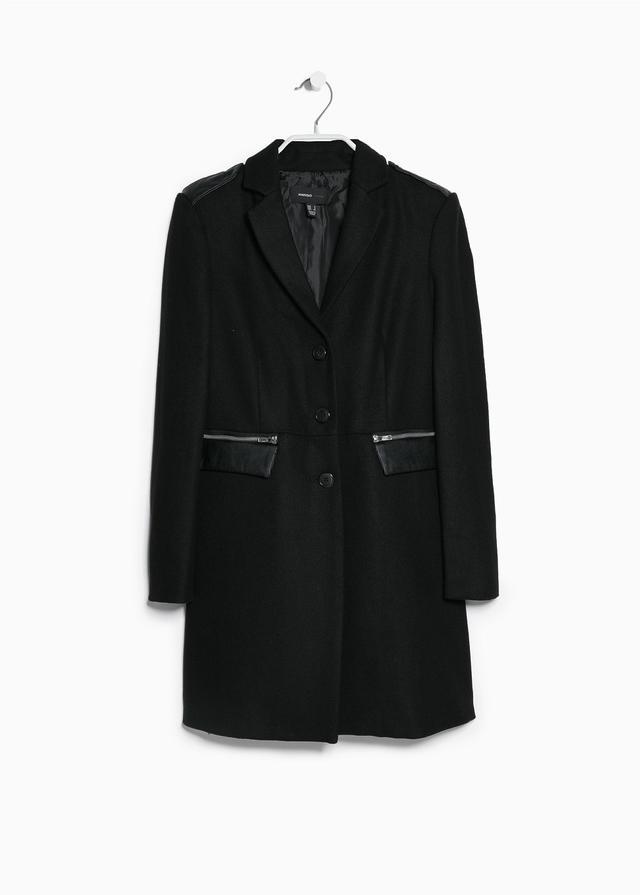 Mango Side-zip wool-blend coat