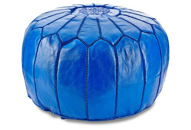 One Kings Lane Azure Moroccan Pouf