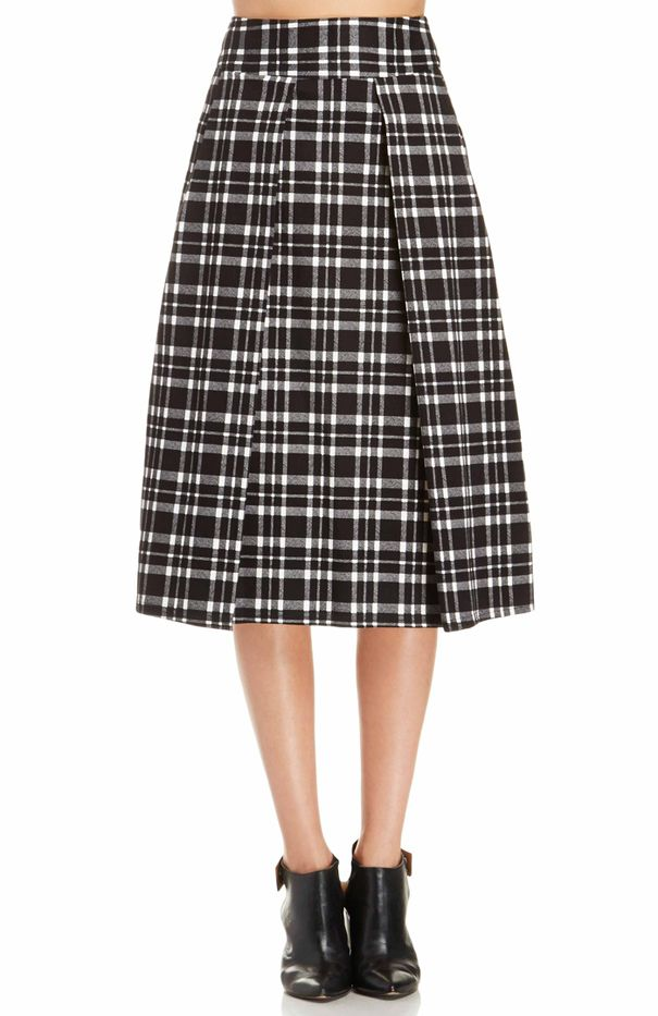 JOA Plaid Midi Skirt