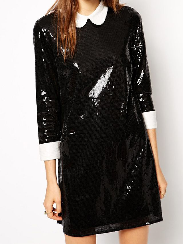 Asos Petite Exclusive Sequin Swing Dress with Collar and Cuffs