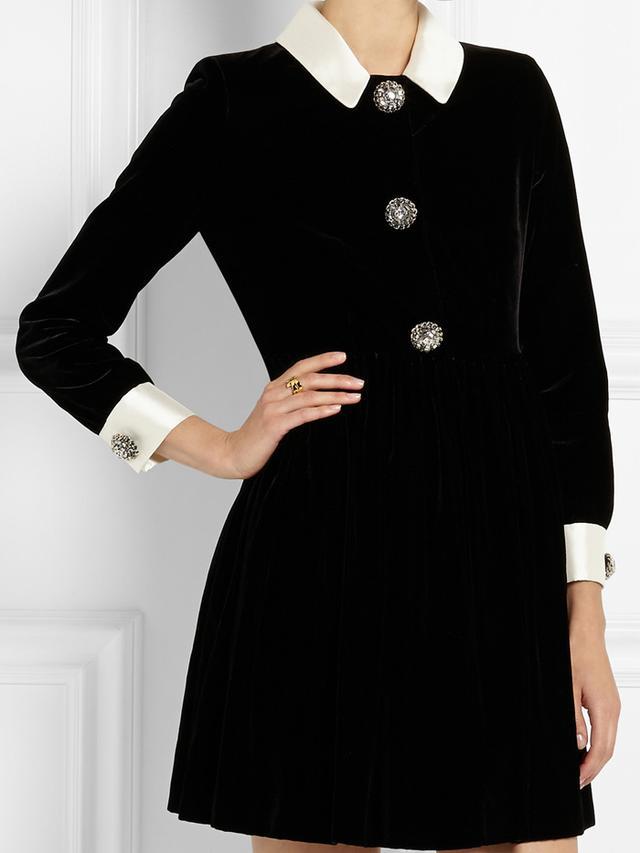 Saint Laurent Silk-Trimmed Embellished Velvet Mini Dress