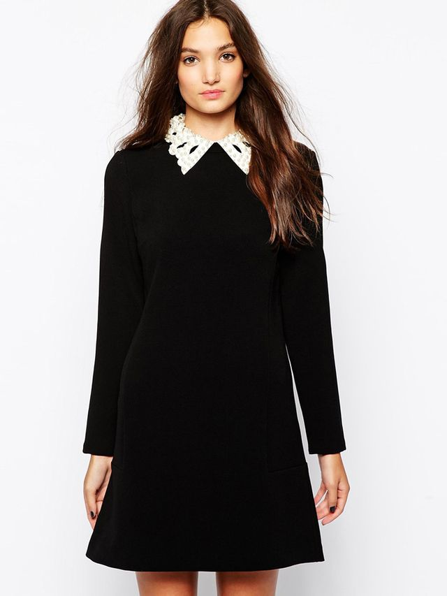 Sisley Shift Dress with Cut Out Collar
