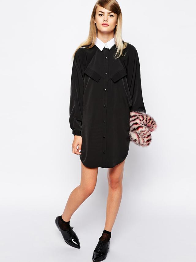 The Laden Showroom X Domino Club Tuxedo Collar Shirt Dress